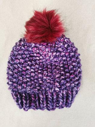 Purple Galaxy Pompom Beanie