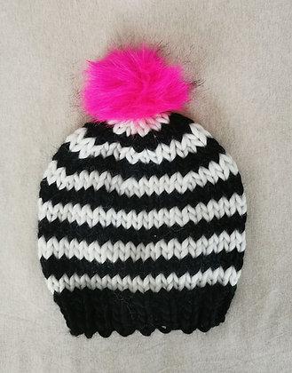 Black and White Stripe Pompom Beanie