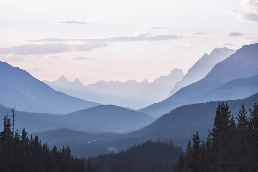 Blue Hour Canadian Rockies Mountain Layers
