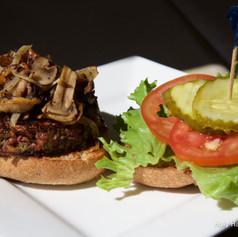 Adzuki Burger with mushrooms