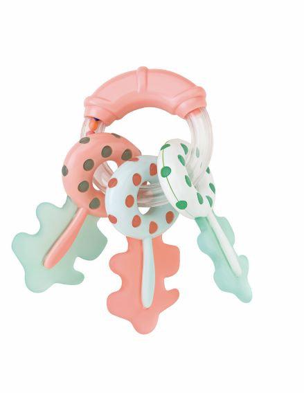 Schlüsselrassel mit Beißring / Lachs-Mind