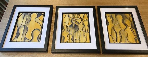 SOLD Triptych Lost in the Crowd 1, 2, 3