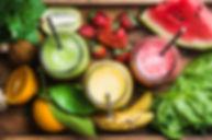 Freshly blended fruit smoothies of vario