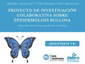 Sesión virtual para pacientes y familias dedicada al proyecto sobre EB de Rare Commons