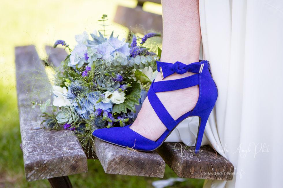 chaussures mariage bleu