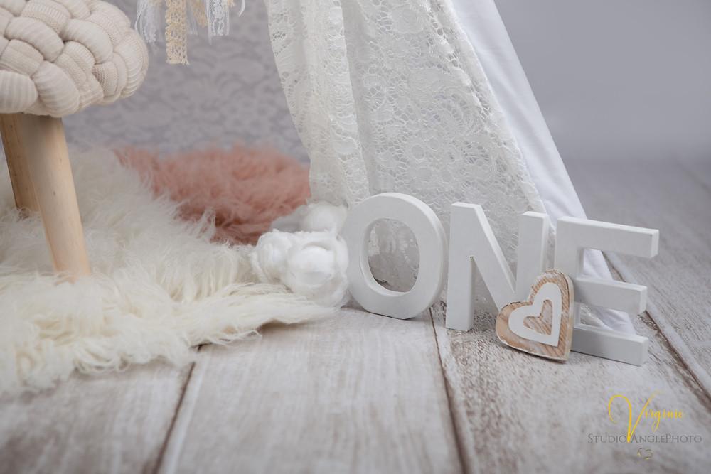 décoration studio photo pour un premier anniversaire