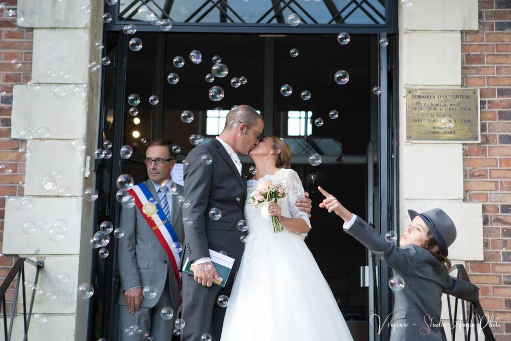 bulles à la sortie des mariés