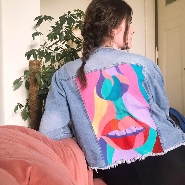 Hand painted denim jacket, size S/M. Acrylics with heat-sealing (suitable for cold hand-washing). £75