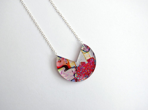 Acrylic geometric necklace on silver printed jewellery melody g a unique geometric acrylic pendant with an original print design pendants are 5 mm thick with a white ink backing giving a beautiful depth to the piece mozeypictures Choice Image