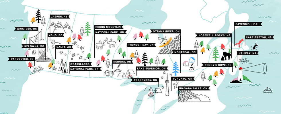 Illustrated Map Demonstrating all of FML Adventure's Stops From Coast to Coast of Canada