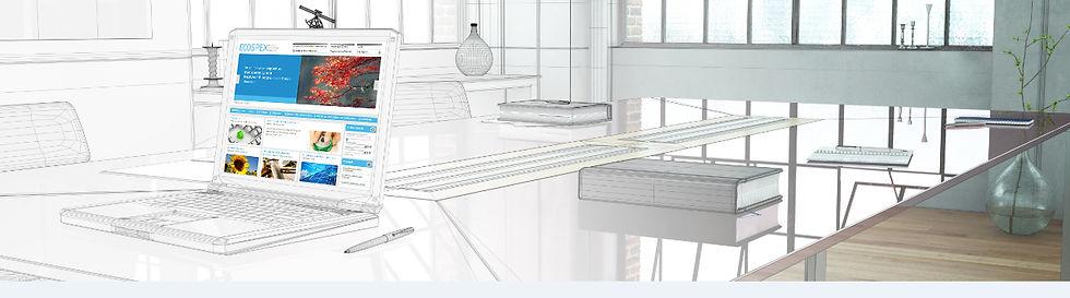 Computer In Room Design, With Ecospex Website on Desktop