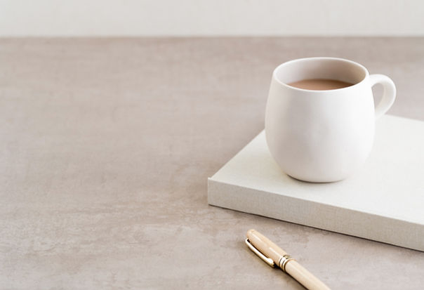 Coffee Workstation flatlay for psychotherapy office
