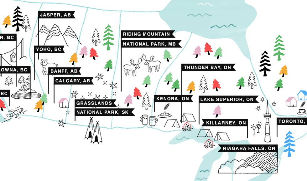 Illustrated Map Showing The Stops FML Adventures Makes Between Toronto, Ontario and Tofino, British Columbia