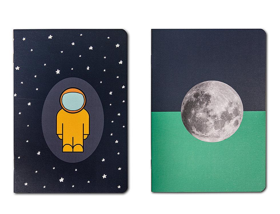 2li Set Astronaut + Moon - A5 Defter