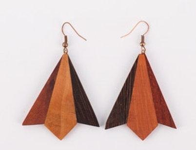Üçgen Venge, Sandal, Okaliptus Ağaçları Ahşap Küpe El Yapımı / Handmade