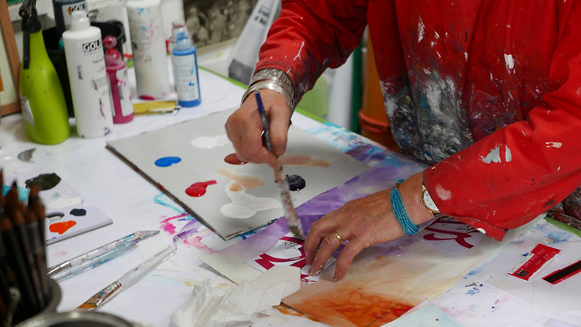 Valerie Armstrong in her Studio
