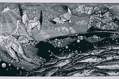 Stac Lee  (in black) ~ original linocut print by Alice Macmillan