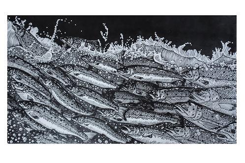 Run ~ original linocut print by Alice Macmillan