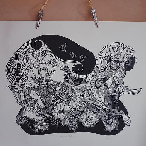 Morning Skylarks (in black) ~ original linocut print