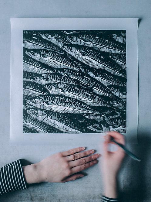 shoal ~ original linocut print by Alice Macmillan