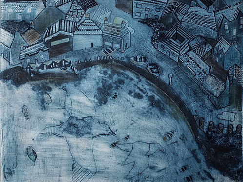 Gull's View ~ hand-tinted collagraph