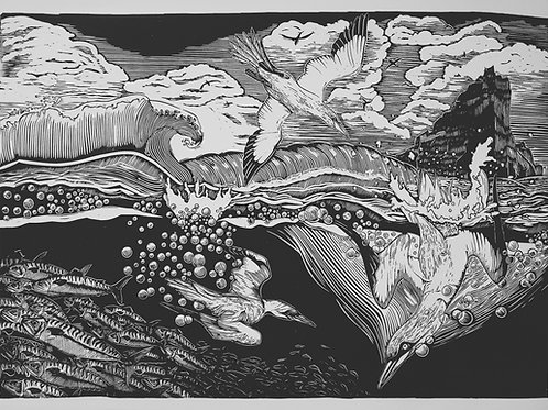 Stac an Armin (in black) ~ original linocut print by Alice Macmillan