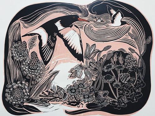 Midsummer Machair (linocut print)