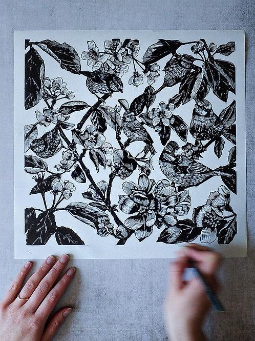 flock ~ original linocut print by Alice Macmillan