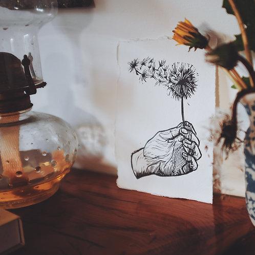 Best Wishes ~ original linocut mini-print