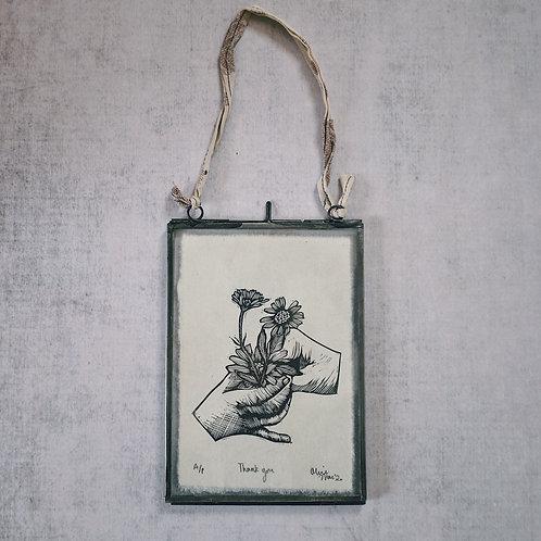 Thank you ~ original linocut mini-print