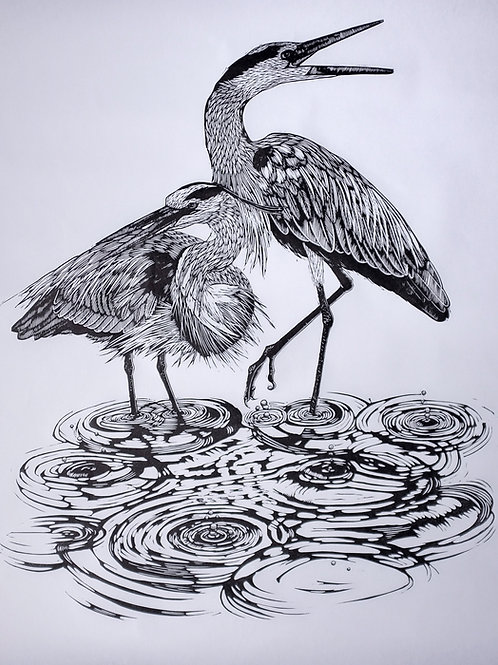 Herons in the rain  ~ original linocut print by Alice Macmillan