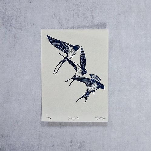 Swallows ~ original linocut print