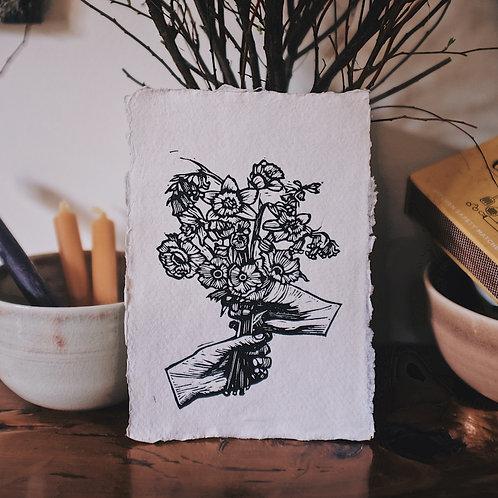 With Love ~ original linocut mini-print