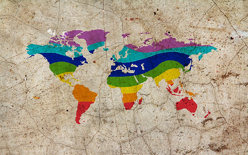 Rainbow color painted world map on dirty