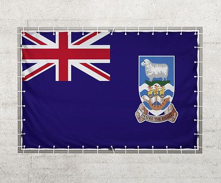 Falkland Islands flag on a tarpaulin th