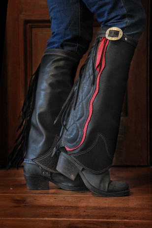 Black Leather Half Chaps