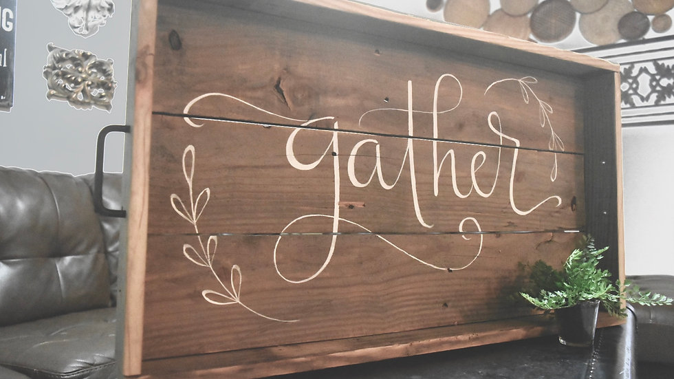 Reclaimed Wood Tray - Large (with or without hand lettering)
