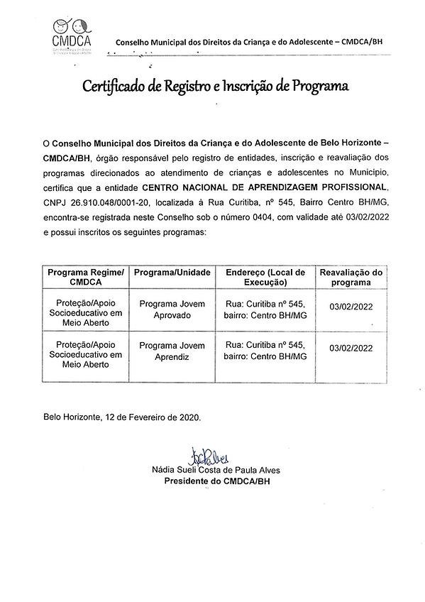 Certificado de Registro e Inscrição de Programa