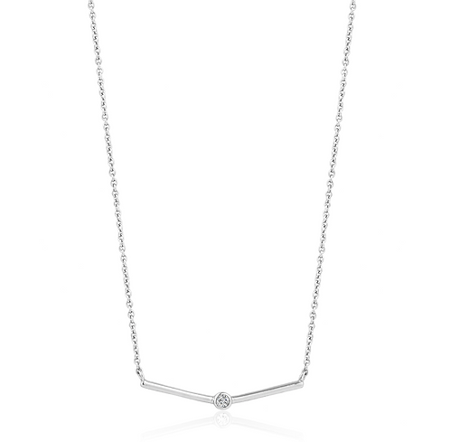 ANIA HAIE SILVER SHIMMER SINGLE STUD NECKLACE