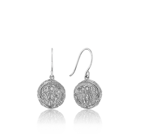 ANIA HAIE SILVER EMBLEM HOOK EARRINGS
