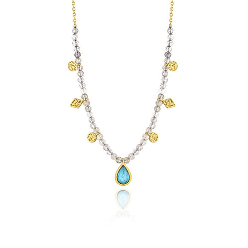 ANIA HAIE TURQUOISE LABRADORITE GOLD NECKLACE