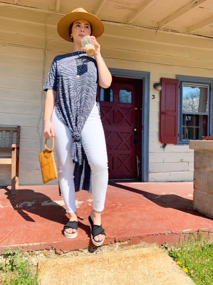ZSupply Zebra Maxi T $58; available in S, M, L, and XL!  Liverpool Penny Ankle Skinny Jean in White $98; available in 2, 4, 6, 8, 10, 12, 14 and 16!  Kamala Slides in Black $65; available in whole sizes 6, 7, 8, 9, 10, and 11! Hobo Sable Wristlet in Honey $108!