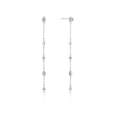 ANIA HAIE SILVER BOHEMIA SHIMMER DROP EARRINGS