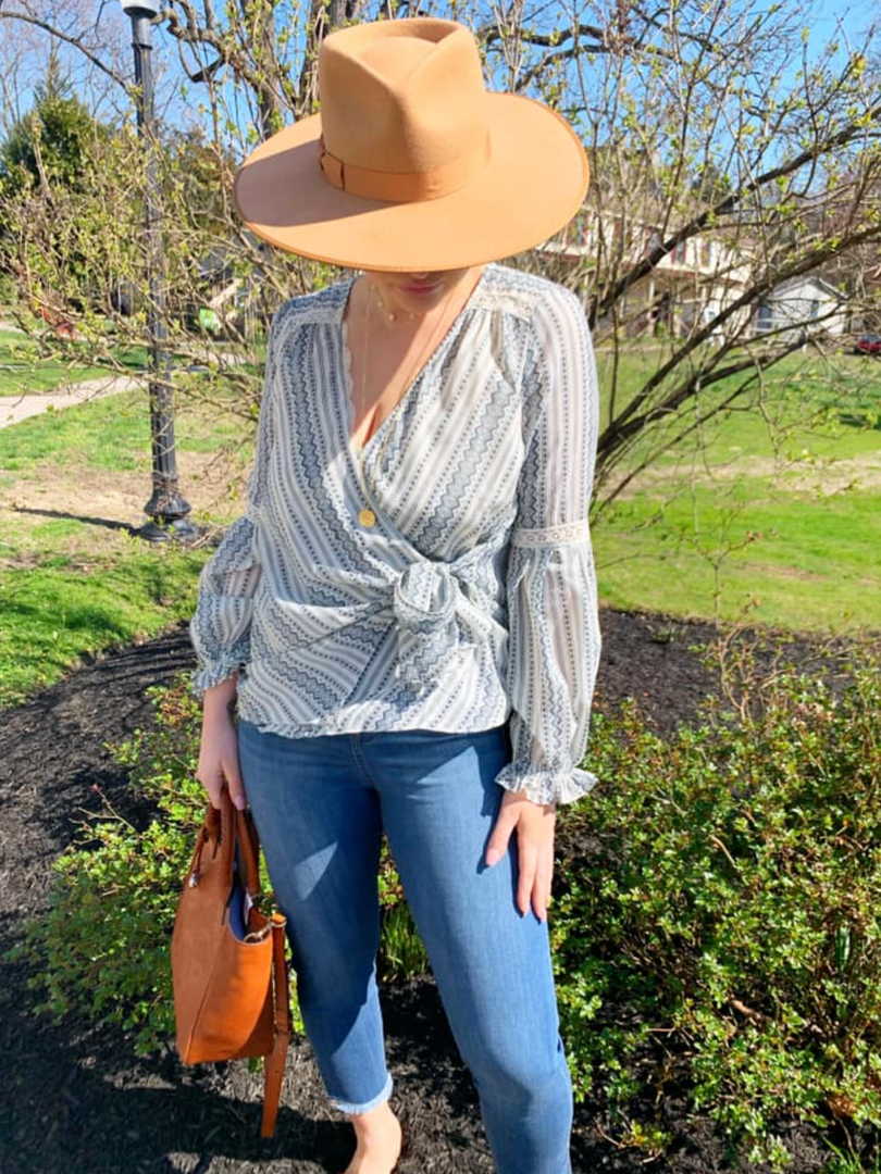 🌞Lacey Wrap Top ($42); available in S, M, L  🌞Liverpool Cropped Chloe Jean in Stillwell ($89); available in 4, 6, 8, 10, & 12  🌞Brighton Morella Small Tote/Crossbody ($425)  🌞Mudpie Making Moves Hat in Taupe ($50)  🌞Ania Haie Nika Mini Hoop Earring ($59)  🌞Ania Haie Dues Choker Necklace ($59)  🌞Ania Haie Roman Empress Long Necklace ($89)