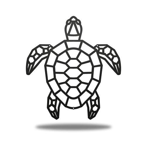 Geometric Turtle Metal Wall Art