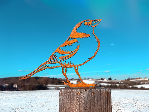 Rusty Chaffinch Metal Fence Topper