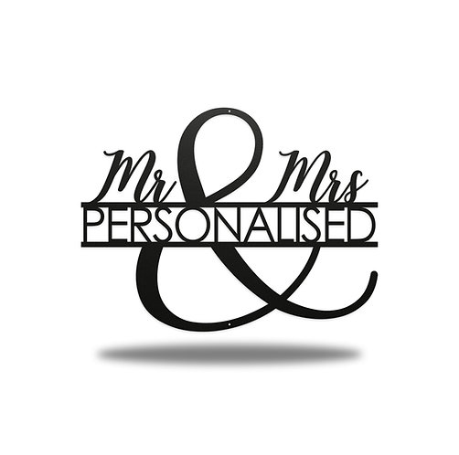 Mr and Mrs Personalised Metal Sign Wall Art