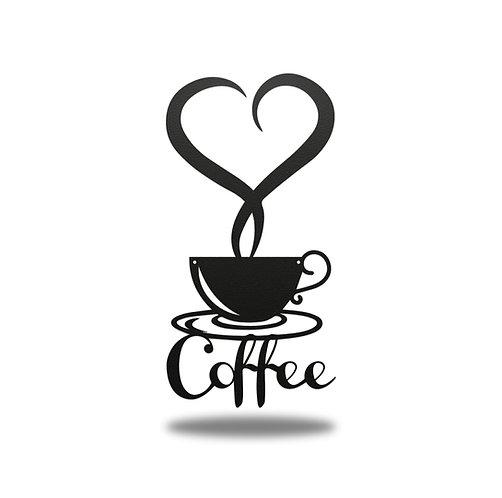 Coffee Heart Metal Wall Art