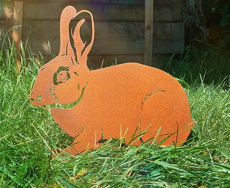 Rusty Rabbit Side Facing Garden Stake