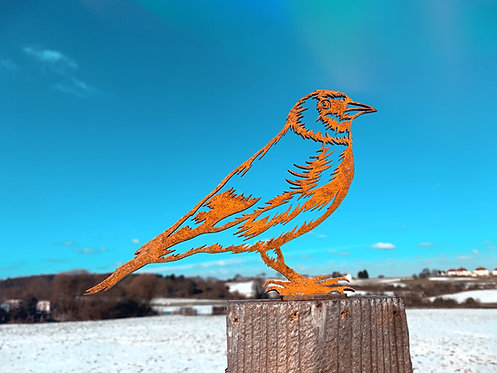 Rusty Goldfinch Metal Fence Topper